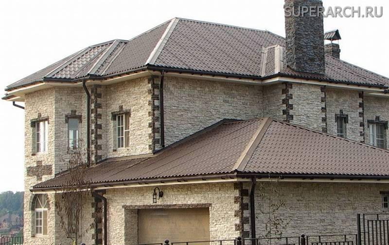 отделка фасада частного дома камнем фото